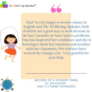 We all have the ability to change people's lives. This is why I teach the The Wellbeing Alphabet and help children to express themselves and grow in confidence. The quote is from one of our online bi-lingual Spanish/English programmes.