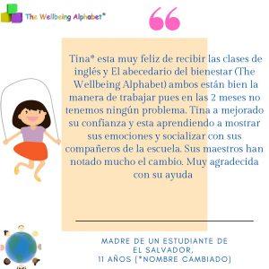 Todos tenemos la capacidad de cambiar la vida de las personas. Es por eso que enseño el Alfabeto del Bienestar y ayudo a los niños a expresarse y crecer en confianza. La cita es de uno de nuestros programas bilingües en línea español/inglés 2021.